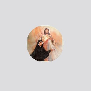 Saint Faustina and Divine Mercy Mini Button