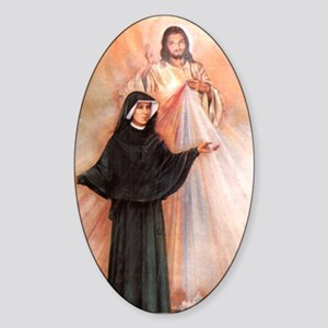 Saint Faustina and Divine Mercy Oval Sticker