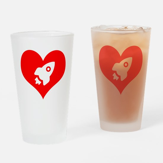 Cute Rocket ship Drinking Glass