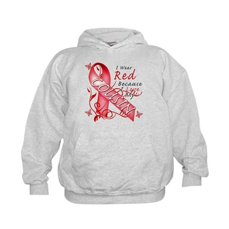 I Wear Red Because I Love My Cousin Kids Hoodie