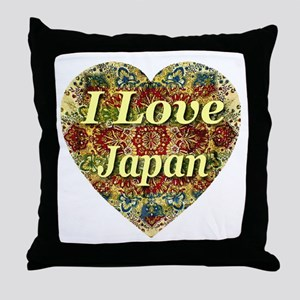 I Love Japan Oriental Heart Throw Pillow