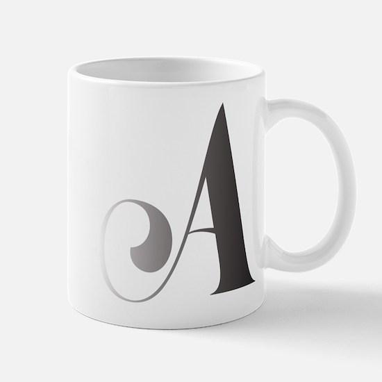 Monochromatic A Scroll Monogram Mugs