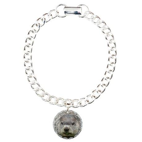Groundhog Eating Charm Bracelet, One Charm