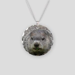 Groundhog Eating Necklace Circle Charm