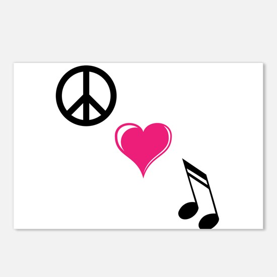 Funny Peace love music Postcards (Package of 8)