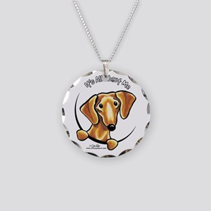 Red Dachshund IAAM Necklace Circle Charm