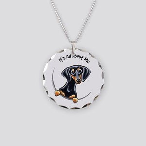 Black Tan Dachshund Lover Necklace Circle Charm