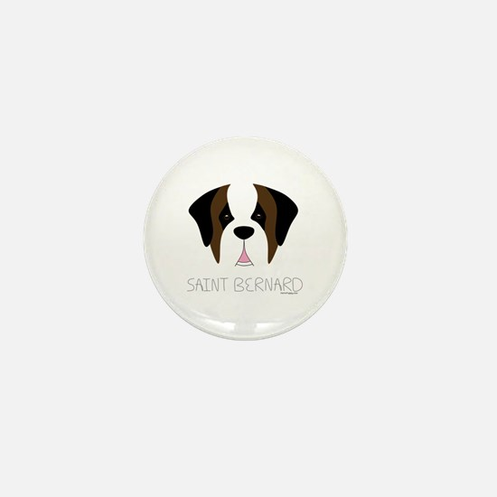 Saint Bernard Cartoon Face Mini Button