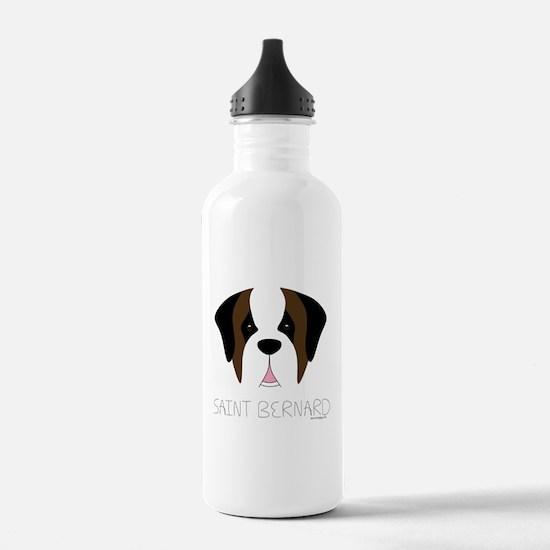 Saint Bernard Cartoon Face Water Bottle