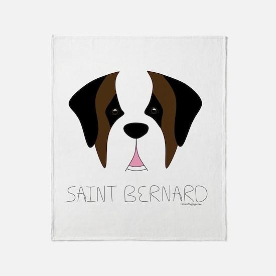 Saint Bernard Cartoon Face Throw Blanket