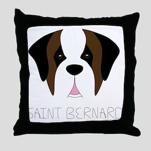 Saint Bernard Cartoon Face Throw Pillow