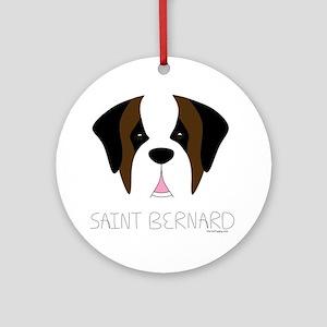 Saint Bernard Cartoon Face Ornament (Round)