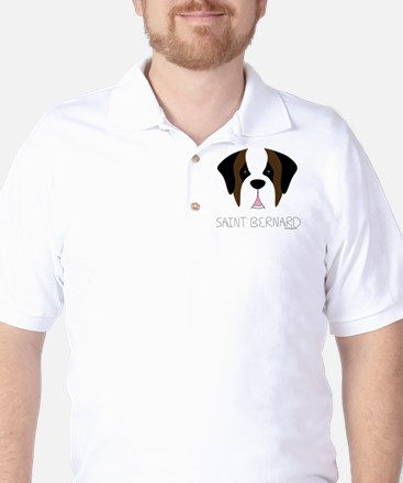 Saint Bernard Cartoon Face Golf Shirt