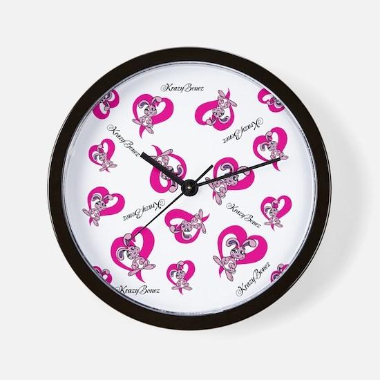 Pink Bunnies Pink Hearts Wall Clock