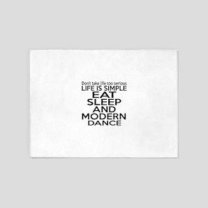 Life Is Simple Eat Sleep And Modern 5'x7'Area Rug