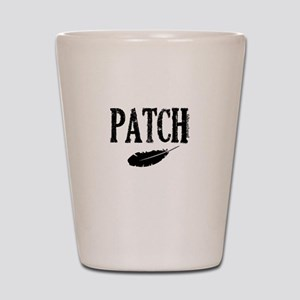 Patch and a feather Shot Glass