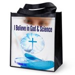 I Believe In God & Science Reusable Grocery Tote B
