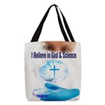 I Believe In God & Science Polyester Tote Bag