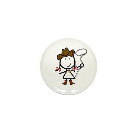 Girl & Western Mini Button