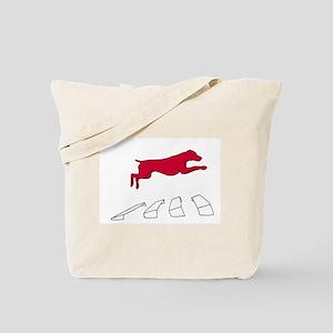 Vizsla over the Broad Jump Tote Bag