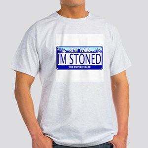 Im Stoned - NY Plate Ash Grey T-Shirt