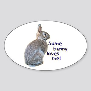 Some Bunny Loves Me Oval Sticker