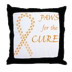 Orange Paws Cure Throw Pillow