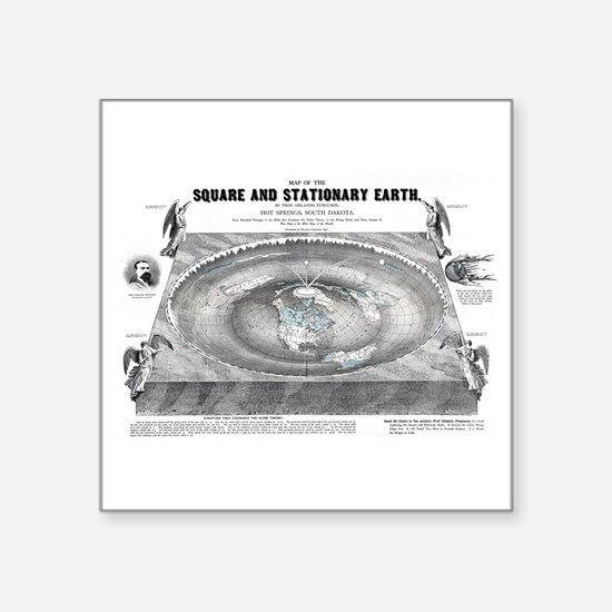 Square Flat Earth Map Sticker