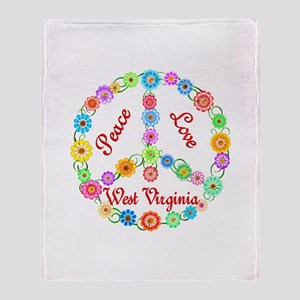 Peace Love West Virginia Throw Blanket