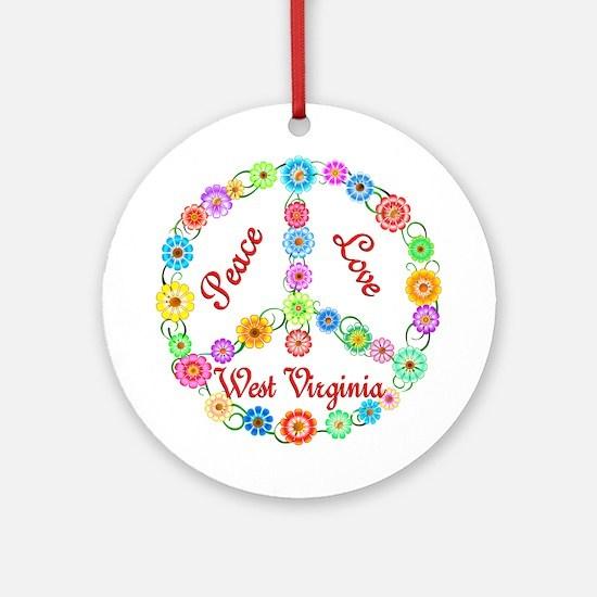 Peace Love West Virginia Ornament (Round)