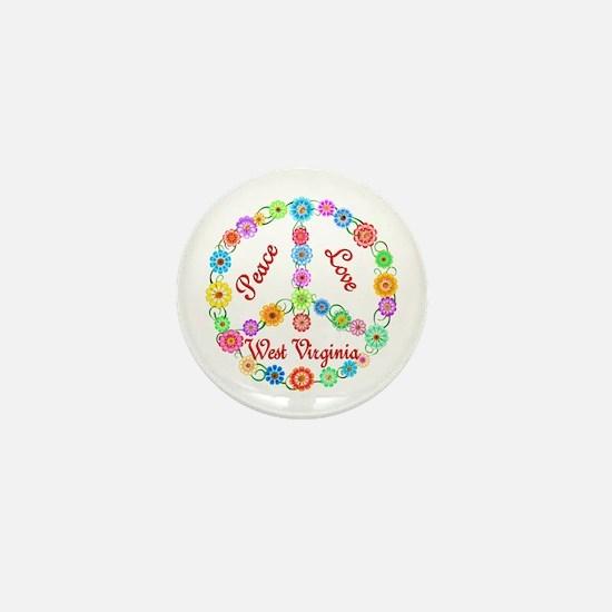 Peace Love West Virginia Mini Button