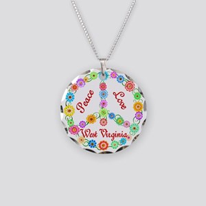 Peace Love West Virginia Necklace Circle Charm