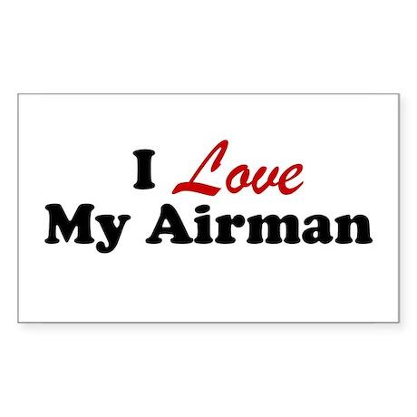 I Love My Airman Rectangle Sticker