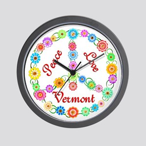 Peace Love Vermont Wall Clock