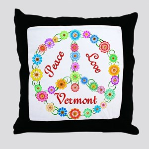 Peace Love Vermont Throw Pillow