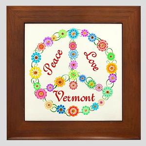 Peace Love Vermont Framed Tile