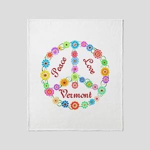 Peace Love Vermont Throw Blanket