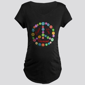 Peace Love Vermont Maternity Dark T-Shirt