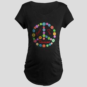 Peace Love Vermont Maternity Dark T-Shirt