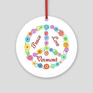 Peace Love Vermont Ornament (Round)