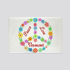 Peace Love Vermont Rectangle Magnet
