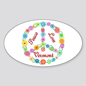 Peace Love Vermont Sticker (Oval)