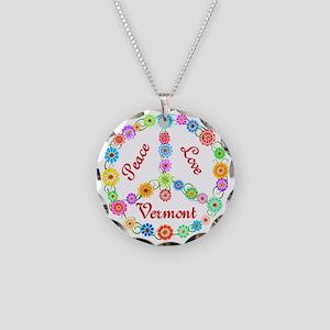 Peace Love Vermont Necklace Circle Charm
