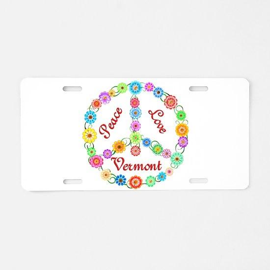Peace Love Vermont Aluminum License Plate