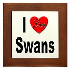 I Love Swans Framed Tile