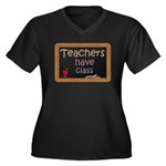 Teachers Have Class Women's Plus Size V-Neck Dark