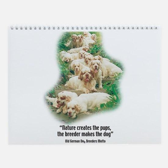 Cute Clumber spaniels Wall Calendar