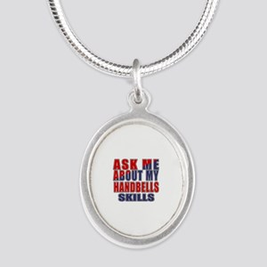 Ask About My Handbells Skills Silver Oval Necklace