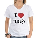I heart turkey Women's V-Neck T-Shirt
