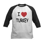 I heart turkey Kids Baseball Jersey